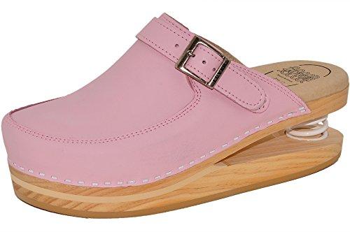 LUVER Federschuhe - gefederte Damen Clogs rosa - Federschuhe – clgjr127r, rosa, Größe: 40