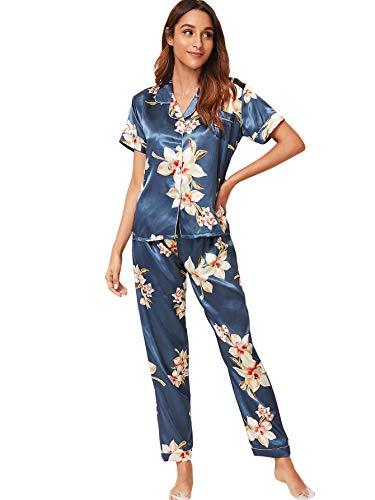 SOLY HUX Women's Floral Print Short Sleeve Button Down Satin Sleepwear Pants Pajama Sets Blue L