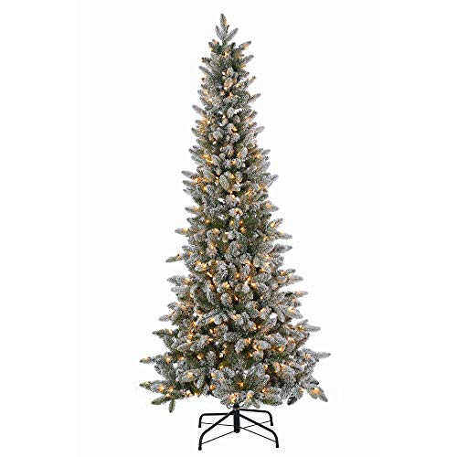 6.5ft Pre-Lit Slim Artificial Christmas Tree Lightly Flocked Canyon Fir - Clear Lights