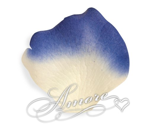 200 Wedding Silk Rose Petals Laguna (Light ivory and Royal Blue) 2 inch Wide