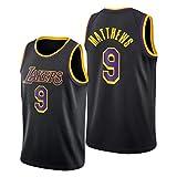 DWQ Jersey de Baloncesto para Mujer para Hombres, Matthews # 9 Lakers Polyester Refrescante de Baloncesto Transpirable, Chaleco sin Mangas (S ~ 2XL) L