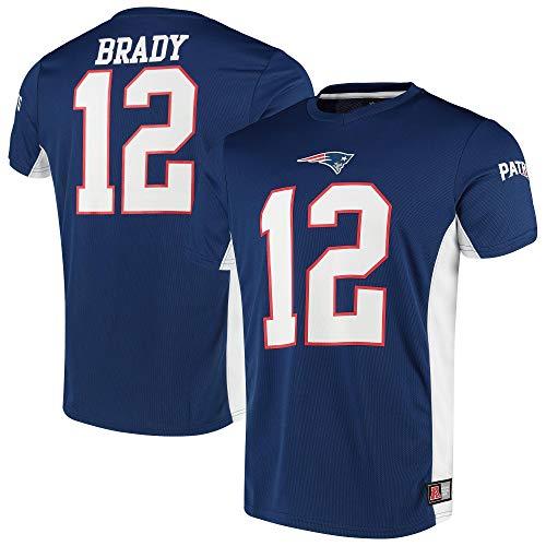 Fanatics NFL New England Patriots Camiseta de Tom Brady #12 Poly Mesh Jersey, Color azul, large