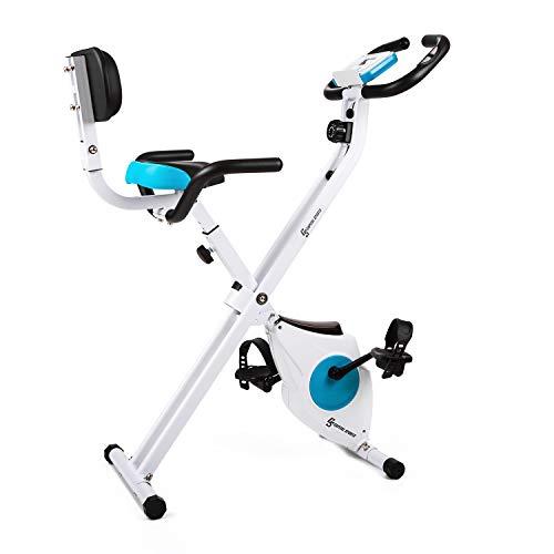 Capital Sports Azura - Fahrrad-Heimtrainer, klappbar, 40x45cm Stellfläche, Belastbarkeit max.100kg, Fahrradtrainer mit Handpulsmesser, Trainingscomputer, ergonomisch, Griff und Rückenlehne, weiß