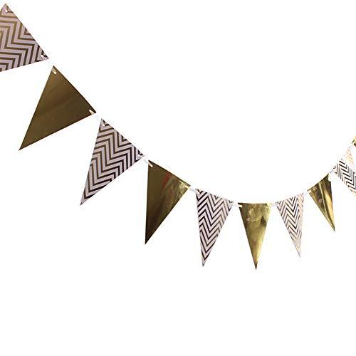 jingyuu Bannière d'or en Papier Guirlande de Fanions Drapeau Triangle en Motif de Vague Banderole Décoration pour Fête Mariage Anniversaire