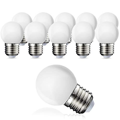 Pack de 10 bombillas LED E27 G45, sustituye a bombillas incandescentes de 20 W, blanco cálido 3000 K, 3 W G45, 180 lm, cubierta de policarbonato mate, no regulable.