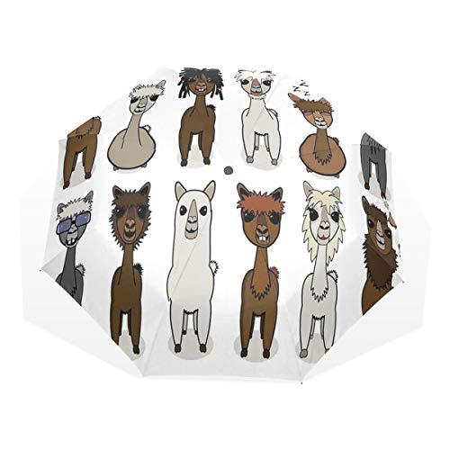 LASINSU Regenschirm,Charismatische Alpakas mit verschiedenen Haaren Animal Fiction Comic,Faltbar Kompakt Sonnenschirm UV Schutz Winddicht Regenschirm