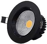 PJDOOJAE Rejilla negra LED LED Spotlight LED Empotrado Downlight Cob Spotlight 40 Beam Angle Rotación Ajustable Fuego Ajustable Lámpara de techo Empotrada Die-Funda Radiador de aluminio Luz cálida 300