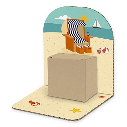 itenga Geldgeschenk Basic I Motiv Strandkorb I Mitbringsel I Gutschein I Geschenkverpackung zum Aufstellen inkl. Geschenkbox