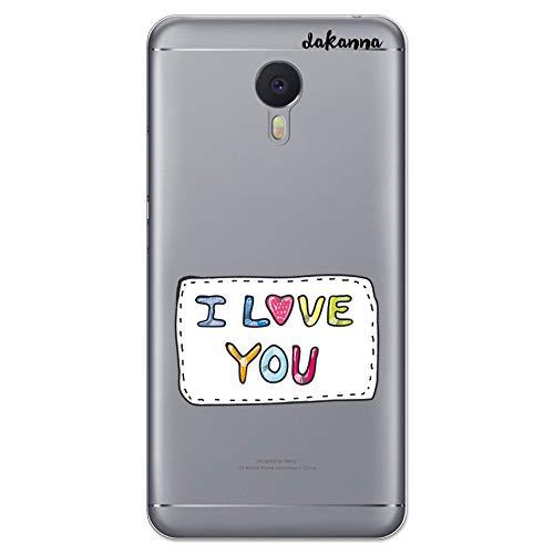 dakanna Schutzhülle Kompatibel mit [Meizu M3 Note] Flexible Silikon-Handy-Hülle [Transparenter Hintergr&] Patch mit Phrase I Love You Design, TPU Gel Hülle Cover für Dein Smartphone