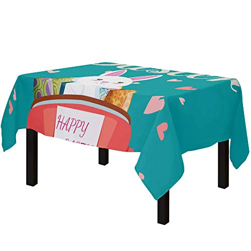Yun Nist Tablecloths for Rectangle Table Happy Easter Truck with Rabbit and Colorful Eggs, Cotton Linen Fabric Table Cover Tabletop Cloth for Dining Room Kitchen, Teal