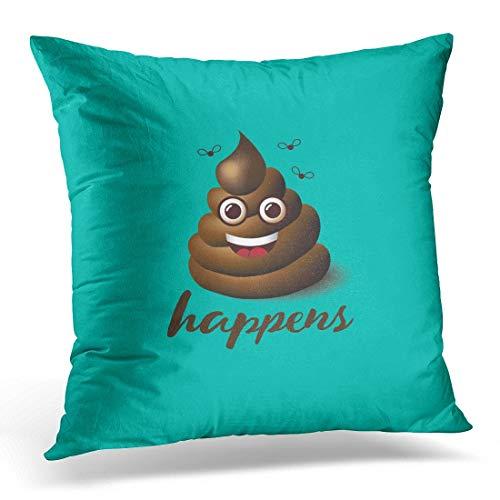 N\A Funda de Almohada Decorativa Caca marrón Cara Sonriente La Mierda Sucede Diseño Emoji 10 Funda de Almohada de Tiro de Mierda Funda de Almohada Cuadrada para decoración del hogar