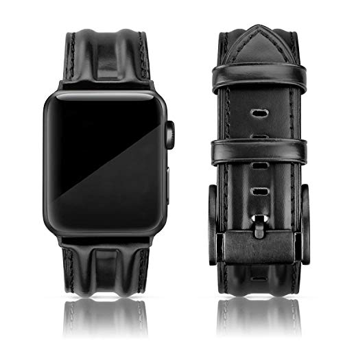 SWEES Leather Band Compatible with iWatch 42mm 44mm, Genuine Leather Classic Strap Wristband Compatible for Watch Series 6 5 4 3 2 1 SE Sports & Edition Men, Matte Black