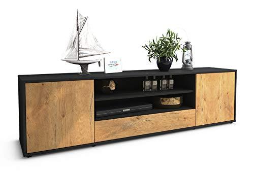 Stil.Zeit TV Schrank Lowboard Claudius, Korpus in anthrazit matt/Front im Holz-Design Eiche (180x49x35cm), mit Push-to-Open Technik und hochwertigen Leichtlaufschienen, Made in Germany