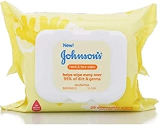 Johnson's Hand & Face Baby Wipes, 25 Count