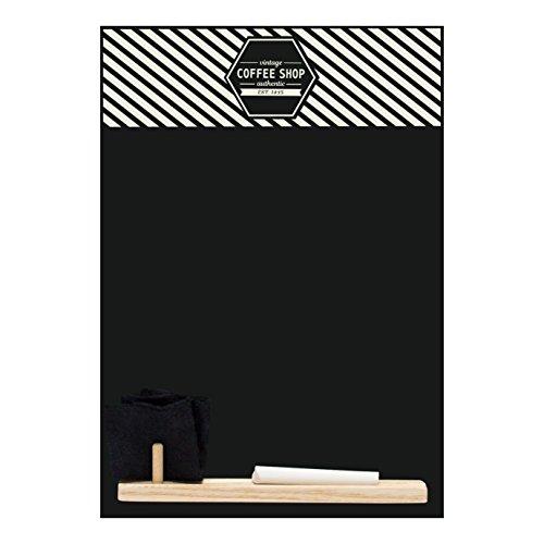 Chalkboards UK Vintage Coffee Shop 'Small Memo Pizarra/Pizarra/Junta de Cocina con Bandeja, Piezas de Tiza y Borrador de Fieltro. Cabina diseño Gama, Madera, Negro, 29,7x 20,7x 1cm