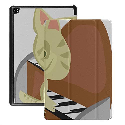 Fälle für HD Fire 8 Tablet Musikalisches Katzenspiel Klavierkunst Musik Fire Tablet HD 8 Cover (2018 2017 2016 Release, 8./7 ./6. Generation) Mit Auto Wake/Sleep