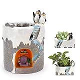 ChasBete Maceta Decorativa de Interior con Pequeña Familia de Pinguinos Jardinera de...