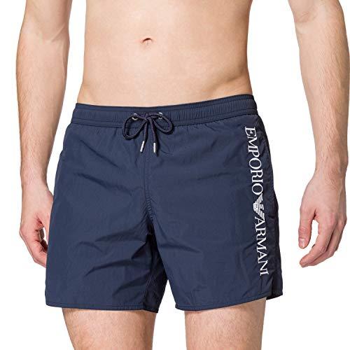 Emporio Armani Swimwear Mens Boxer Embroidery Logo Swim Trunks, Black, 54