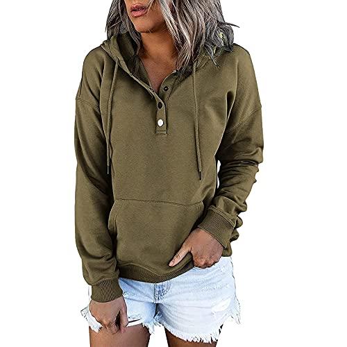 Orgrul Sudadera de mujer con capucha de manga larga, estilo informal, para invierno, cuello con botones, manga larga, sudadera con capucha, gran tamaño D87, Verde militar., L
