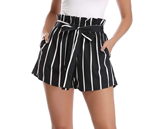 Dilgul Shorts for Women Elastic High Waisted Striped Summer Shorts with Pockets