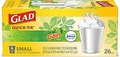 OdorShield Small Trash Bags, Gain Original & Febreze, 4 Gal, 26 Ct - Pack of 6 (Package May Vary), 1 Set (Gain)