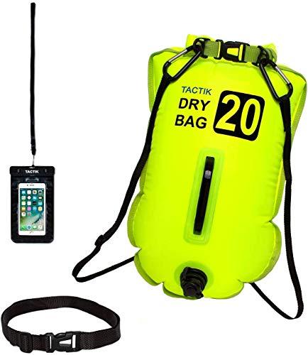 TACTIK Bolsa Boya Natacion Aguas Abiertas 20 y 28 litros Hinchable Antirrobo (Kayak/Paddle Surf/Buceo/Snorkel/Pesca/Triathlon/wakebord/Rafting/Canoa/Remo)