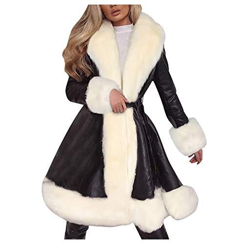 BaZhaHei Damen Elegant Langarm Lederjacke Mantel Langmantel Outwear Wintermantel Steppmantel Slim Fit Trenchcoat Plüschjacke Cardigan Jacke Übergangsjacke