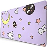 DUOAMARE Purple Sailor Moon Mouse Pad Desk Mat ,Extra Large Cute Anime Long Keyboard Mouse Pad for Girls/Women