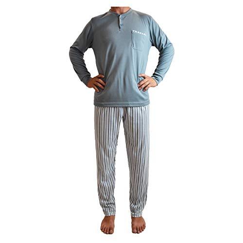 Mini kitten - Pijama de Hombre de Algodón Gordo, Conjuntos Pijama Largo Calido para el Invierno, de diseño Elegante y Moderno.