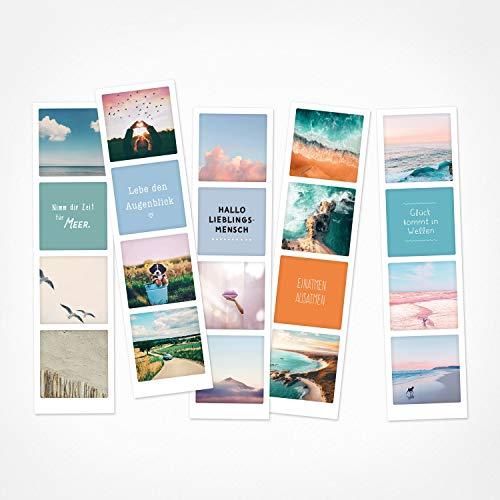 PICKMOTION Set mit 5 Fotostreifen, Grüße & Wünsche, Instagram-Fotografen-Fotostreifen zum Thema Achtsamkeit, Premium Lesezeichen, schöne Sprüche & Motive, Tiere, Blumen