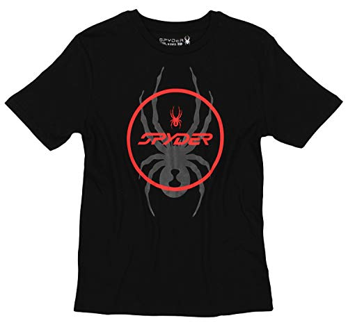 Spyder Youth Boys Athletic Short Sleeve Graphic Cotton Tee, Black/Spyder Circle, Medium 10-12