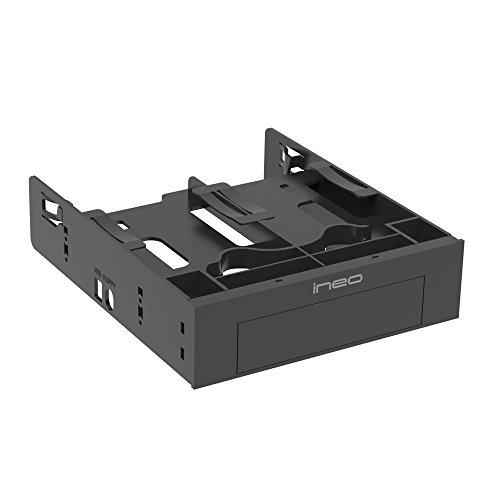 ineo Soporte de Montaje sin Herramientas para Disco Duro SSD de 2 x 2,5 Pulgadas y 1 x 3,5 Pulgadas HDD a Adaptador de bahía de 5,25 Pulgadas [3544]