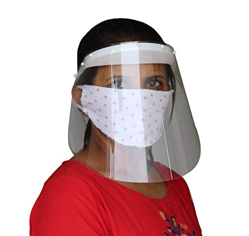 POPIO Safety Face Shield Universal Transparent (500 Micron) Extremely Thick Full Face Protective Visor Eye And Head Protection Facial Cover for Women & Men (2 Pieces), Multi Use Product