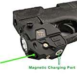 Infilight Green Flashlight Laser Sight, Compact Green Laser Dot Sight Scope Adjustable Low Profile Picatinny Rail Mount Laser Sight with Rechargeable Battery Pistols & Handguns (CL103G Green Laser)
