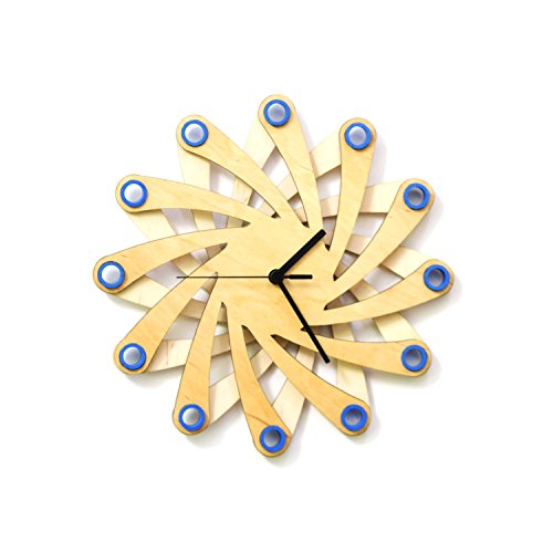 11½' Contemporary Unique Wall Clock Made of Bent Plywood by...