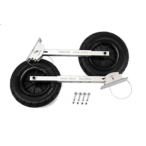 "Seamax Deluxe 4 by 4 Boat Launching Dolly with 14"" Wheels System, Commercial Grade Quality for Inflatable and All Aluminum Boat, Max Loading 600 Lbs"