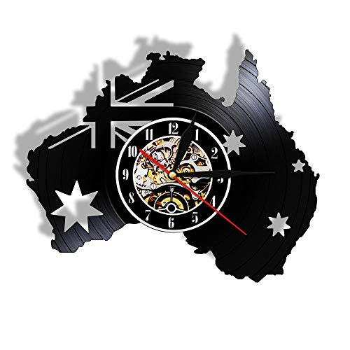KDBWYC Australien Karte Patriotische Flagge Vinyl Board Wanduhr Canberra Melbourne Tourismus Uhr mit Hellen Dekorationen für die Inneneinrichtung Modernes Design ohne LED