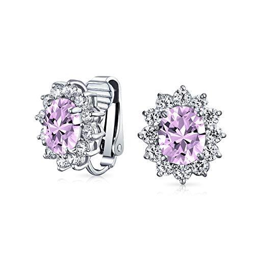 Lavendel Ovale Form CZ Halo Stud Erklärung Ohrclips Ohrringe Simulierten Alexandrit Zirkonia Messing