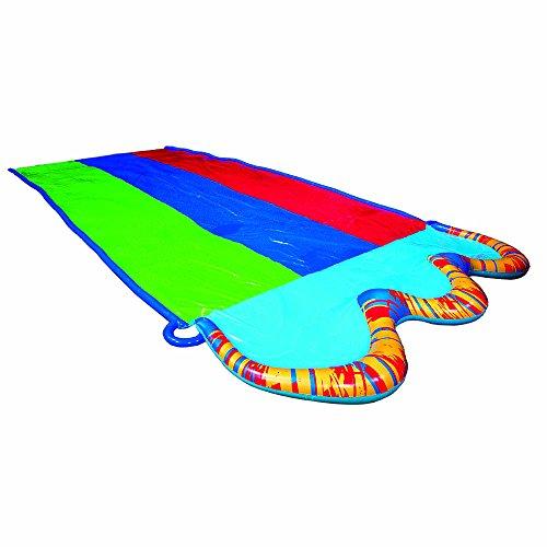 BANZAI Triple Racer Water Slide with 16 Foot Triple Three Racing Lanes and Spray Splash Pool ( Adventure Summer & Spring Toy Backyard Fun )