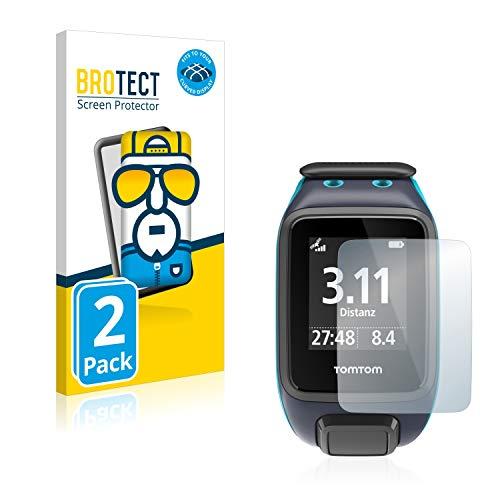 BROTECT Full-Cover Schutzfolie kompatibel mit Tomtom Runner 2 (2 Stück) - Full-Screen Bildschirmschutz-Folie, 3D Curved, Kristall-Klar