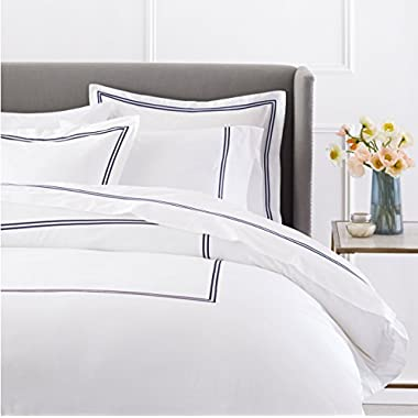 Pinzon 400-Thread-Count Egyptian Cotton Sateen Hotel Stitch Duvet Cover - King, Navy