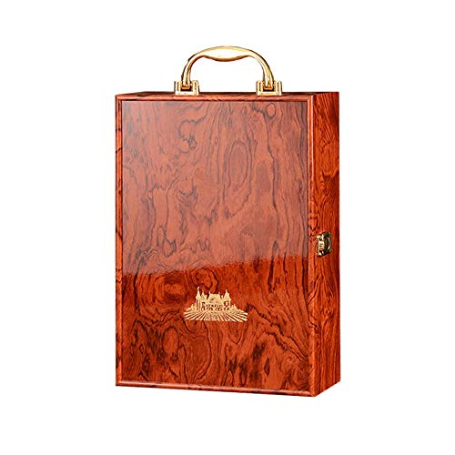 Botella de Vino Caja de Regalo Madera del Vino Carrier Caso con Set de Accesorios (Color : Red, Size :...