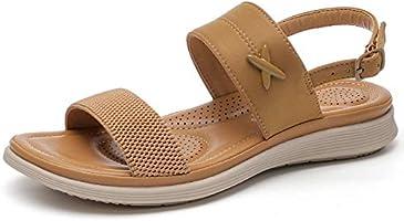 BaiMoJia Sandales Femme Chaussures Plage Confortable Été Flats Boucle Sandales Mode Respirant Bout Ouvert