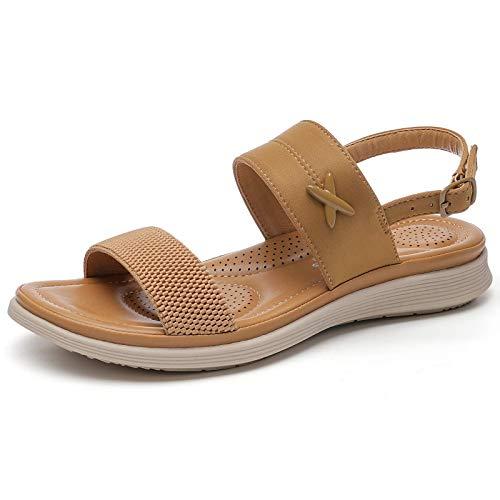 BaiMoJia Sandalias Mujer Planos Sandalias Playa Verano Hebilla Punta Abierta Vacaciones Zapatos Elegante Cómodo Marrón 39 EU