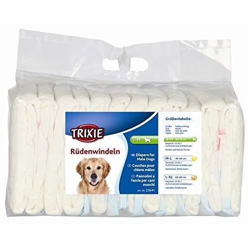 Trixie - Pannolini a Fascia per Cani Maschi Confezione | 12 Pezzi | Taglia S-M | 30-46 cm