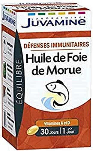 Juvamine - Huile de Foie de Morue - Défenses Immunitaires - Contient les vitamines A & D - 30 capsules