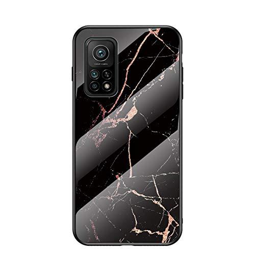 Hülle für Xiaomi Mi 10T 5G/Xiaomi Mi 10T Pro Hülle Marmor Gehärtetem Glas und Silikon Rand Hybrid Hardcase Stoßfest Kratzfest Handyhülle Dünn Hülle Handyhülle für Xiaomi Mi 10T Pro (Schwarzes Gold)