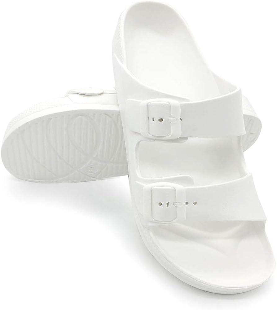 Women's Sandals Adjustable EVA Flat Sandals Comfortable Double Buckle Slides Sandals