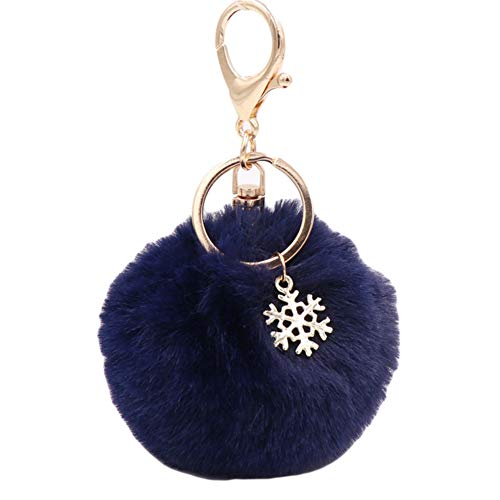 LOVEYue Snowflake Fluffy Pompom Ball Key Chain Ring Holder Car Bag Ornament Keychain,Perfect Best for Child Birthday, Navy Blue
