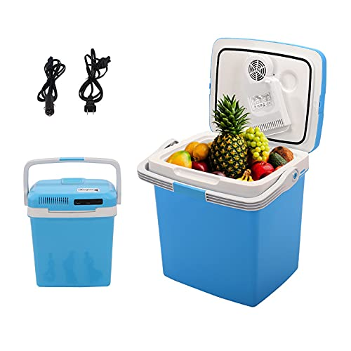 Holyfly Portable Electric Cooler and Warmer for Car, 28 Quarts Portable Refrigerator Thermoelectric Car Cooler for Beverage, Beer, Wine, Seafood, Fruits, Boat, RV, Camping (26L/28 Quart)